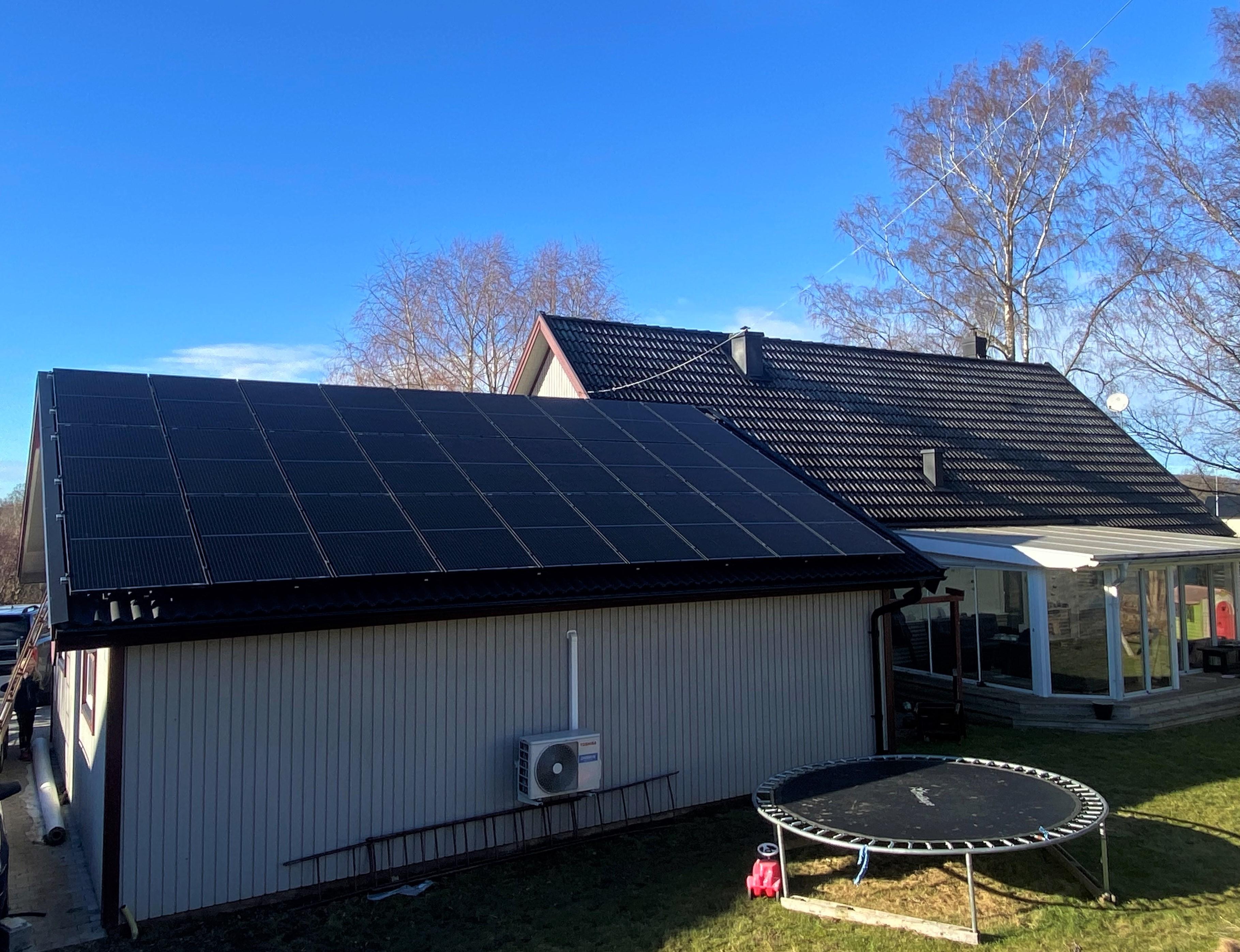 Solpaneler på villa Falköping, Solsystem